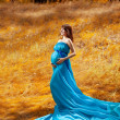 Fashion pregnant girl in autumn — Foto de Stock