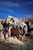 Girl in the mountain — Stock Photo