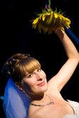 Braut mit sonnenblume — Stockfoto