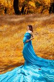 Fashion pregnant girl in autumn — Stock Photo