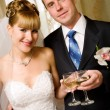 Bride and groom with champagne — Stock Photo #22915070