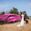 With flying shawl — Stock Photo