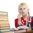 Stockfoto: Girl reading with loupe