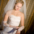 Bride puts on a white glove — Foto de Stock