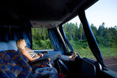 Girl in a long-distance bus — Stock Photo