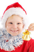 Child with Christmas bell — Stock Photo