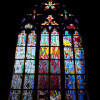 Stained-glass window in the St. Vitus cathedral. praha — Stock Photo