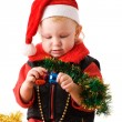 Small Santa with camera — Stock Photo