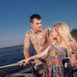 Young couple on the boat — Stock Photo #23160598