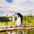 Kiss of bride and groom — Stockfoto
