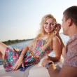 Young couple on the boat — Stock Photo