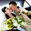 Kiss in the car — Stock Photo