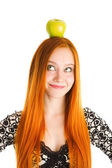 Apple on the head — Stock Photo
