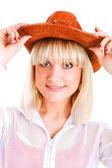 Prettty beauty in cowboy hat — Stock Photo