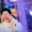 Groom closing eyes to bride — Stock Photo
