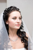A portrait of the brown-haired bride — Stock Photo
