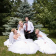 One groom with three brides — Stock Photo