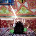 Yoga inside with sunbeam — Stock Photo #36421607