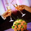 Champagne in hands — Stock Photo