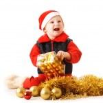 dítě s vánoční dárek — Stock fotografie