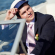Stock Photo: Captain managing yacht