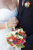 Bouquet and wedding ring — Foto Stock