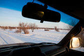 Winter landscape from the car — Stock Photo