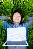 Rest with laptop — Stock Photo