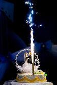 Fireworks and wedding cake — Stock Photo