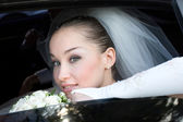 In the wedding car — Stock Photo