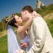 Kiss of bride and groom — Stock Photo #39887151
