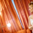 Bride near the lamps — Stock Photo