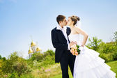 Beso de novios — Foto de Stock