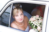 In the car to meet the groom — Stock Photo