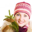 Stock Photo: Girl with branch of fur tree