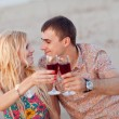 Couple with vine outdoors — Stock Photo