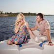 Young couple on the boat — Stock Photo #44331581