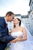 Sposi baci — Foto Stock