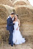 Sposi vicino il fieno — Foto Stock