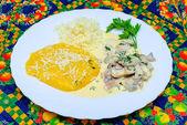 Polenta with mushrooms — Stock Photo