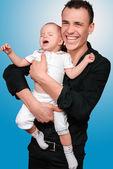 Padre con suo figlio giovane — Foto Stock