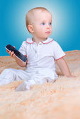 Baby and mobile — Stock Photo