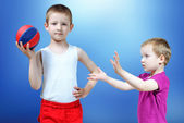 Kids with a ball — Stock Photo