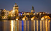 Karlov Bridge at the night — Stock Photo