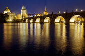 Karlov Bridge at the night — Stock Photo