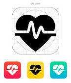 Icono del corazón pulso. ilustración vectorial. — Vector de stock