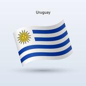 Uruguay bandiera sventolante forma. illustrazione vettoriale. — Vettoriale Stock