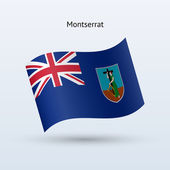 Montserrat flag waving form. Vector illustration. — Stock Vector