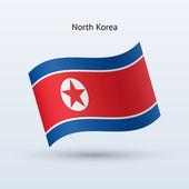 Corea del nord bandiera sventolante forma. illustrazione vettoriale. — Vettoriale Stock