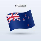 Nuova zelanda bandiera sventolante forma. illustrazione vettoriale. — Vettoriale Stock